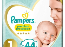 PAMPERS PREMIUM PROTECTION – 44 couches T1 (2-5 kg)