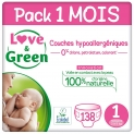 Love & Green Case Pack Couche Taille 1 (6 paquets de 23 couches)