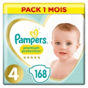 PAMPERS PREMIUM PROTECTION – T4 (9-14 kg) PACK 1 MOIS