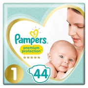 Pampers Premium Protection Taille 1, 44 Couches, 2kg-5kg